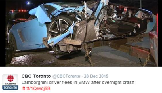 Дивина та й годі: водій Lamborghini Gallardo розбив своє авто і втік з місця події
