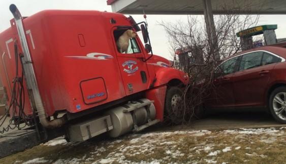 Собака привела в рух вантажівку і влаштувала аварію