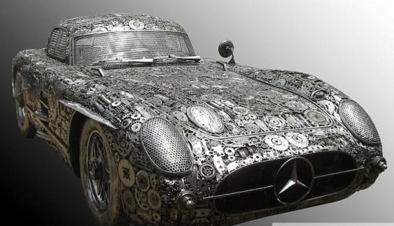 Вражає: дивовижний ретро-автомобіль з металевих відходів (фото)