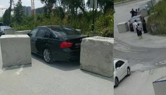 Новина однією картинкою: бетонні блоки як спосіб покарання порушника парковки