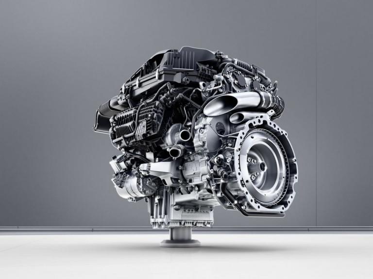 Mercedes-Benz Sechszylinder-Benzinmotor M256 ;Mercedes-Benz six-cylinder engine M256. Engine cross section;