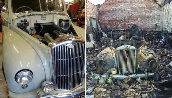 До сліз: феєрверк спалив раритетний автомобіль (Фото)